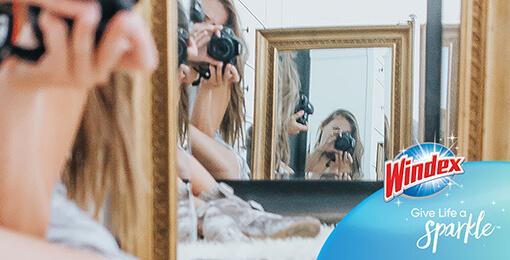 Windex página de inicio cuélese en su selfi