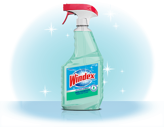Limpiador desinfectante multisuperficie Windex® con Glade® Rainshower frente